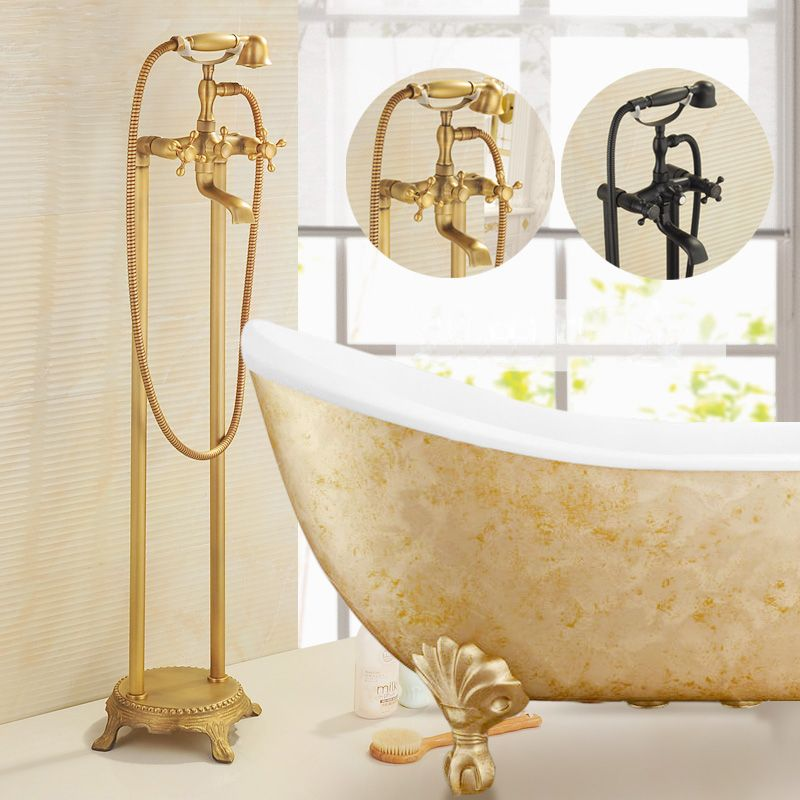 Telephone Style Shower Faucet Antique Brass Shower Head Bathroom ...