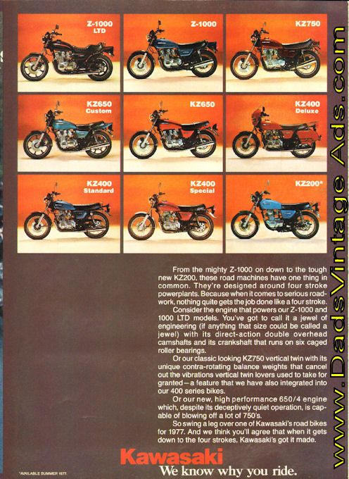 1977 Kawasaki We Come From A Long Line Of Four Strokes Kawasaki Motorcycles Kawasaki Motorcycle Travel