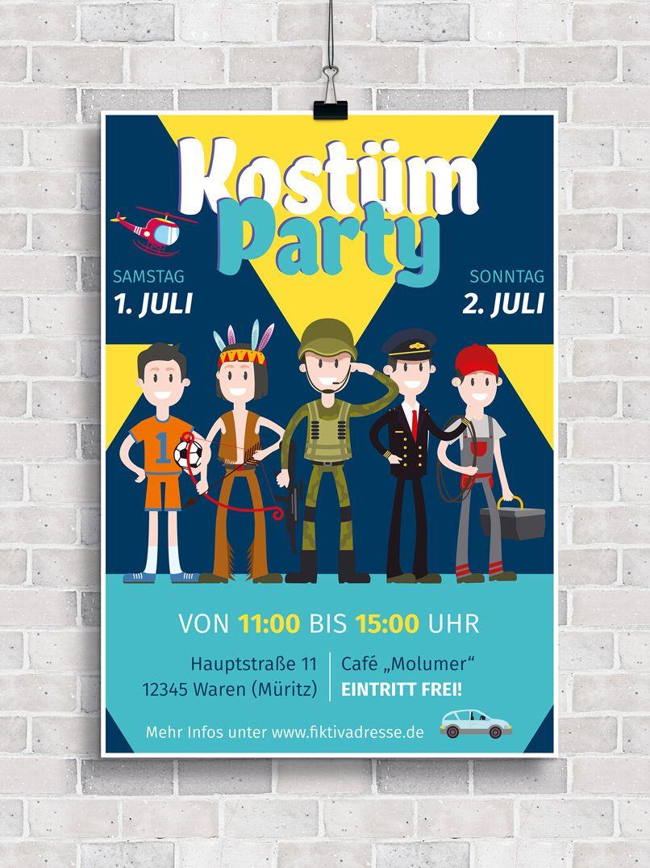 Plakate und Flyer zur Einladung zu Kinderfest, Kinderfasching und ...