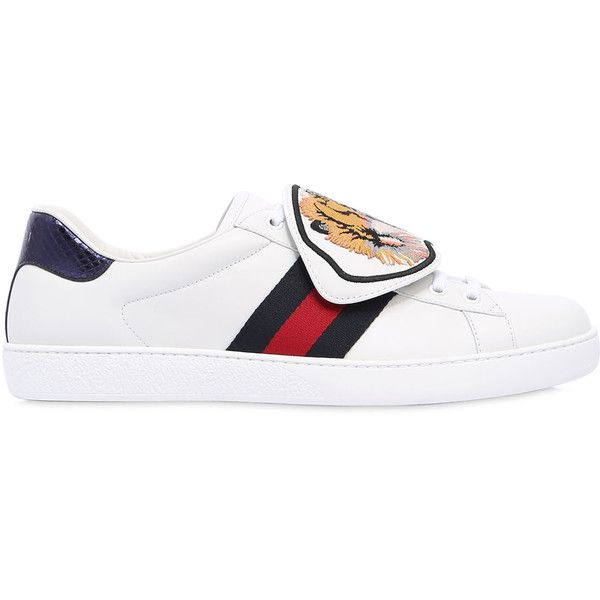 buy online a0948 fb972 Gucci Men New Ace Tiger Strap Leather Sneakers ( 695) ❤ liked on Polyvore  featuring men s fashion, men s shoes, men s sneakers, white, mens velcro  strap ...