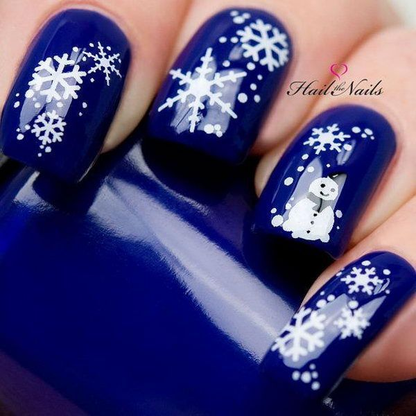 Navy Blue and White Snowflake and Snowman Nail Art Design - รวมลายเพ้นท์เล็บตอนรับวันคริสต์มาส - Bookup Asia Nailed It
