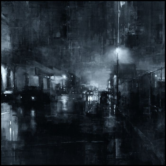 "Compositions by Jeremy Mann ""Composition #127"" - Oil on Panel - 48 x 48 in. - Sold - The Christopher Hill Gallery"