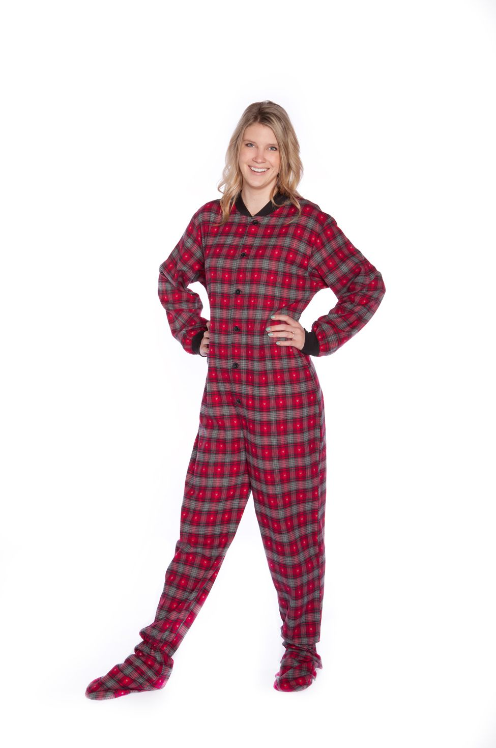 bccb3c10b4 Big Feet Adult Onesie Footie Pajamas Red   Black Plaid with small Grey  Hearts for Men or Women 100% Double Brushed Cotton Flannel available with  butt flap ...