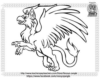 free gryphon coloring page httpwwwteacherspayteacherscomproduct