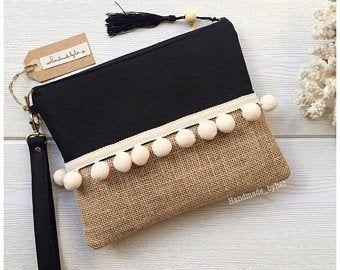 Photo of Boho clutch Burlap clutch Bridesmaid gift par HandmadebyHerEstonia