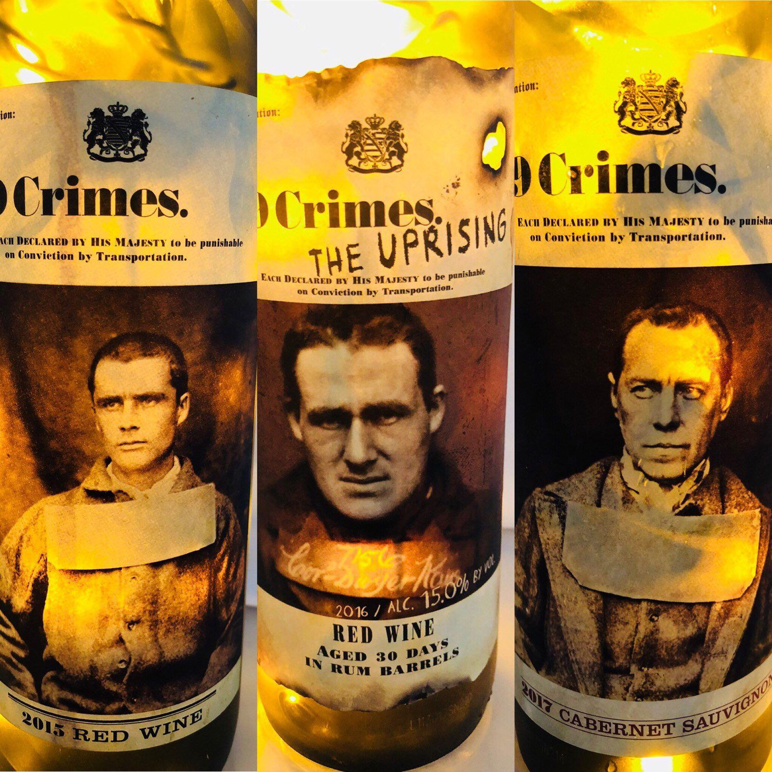 The prisoners are loose! Each 19 Crimes wine bottle lamp