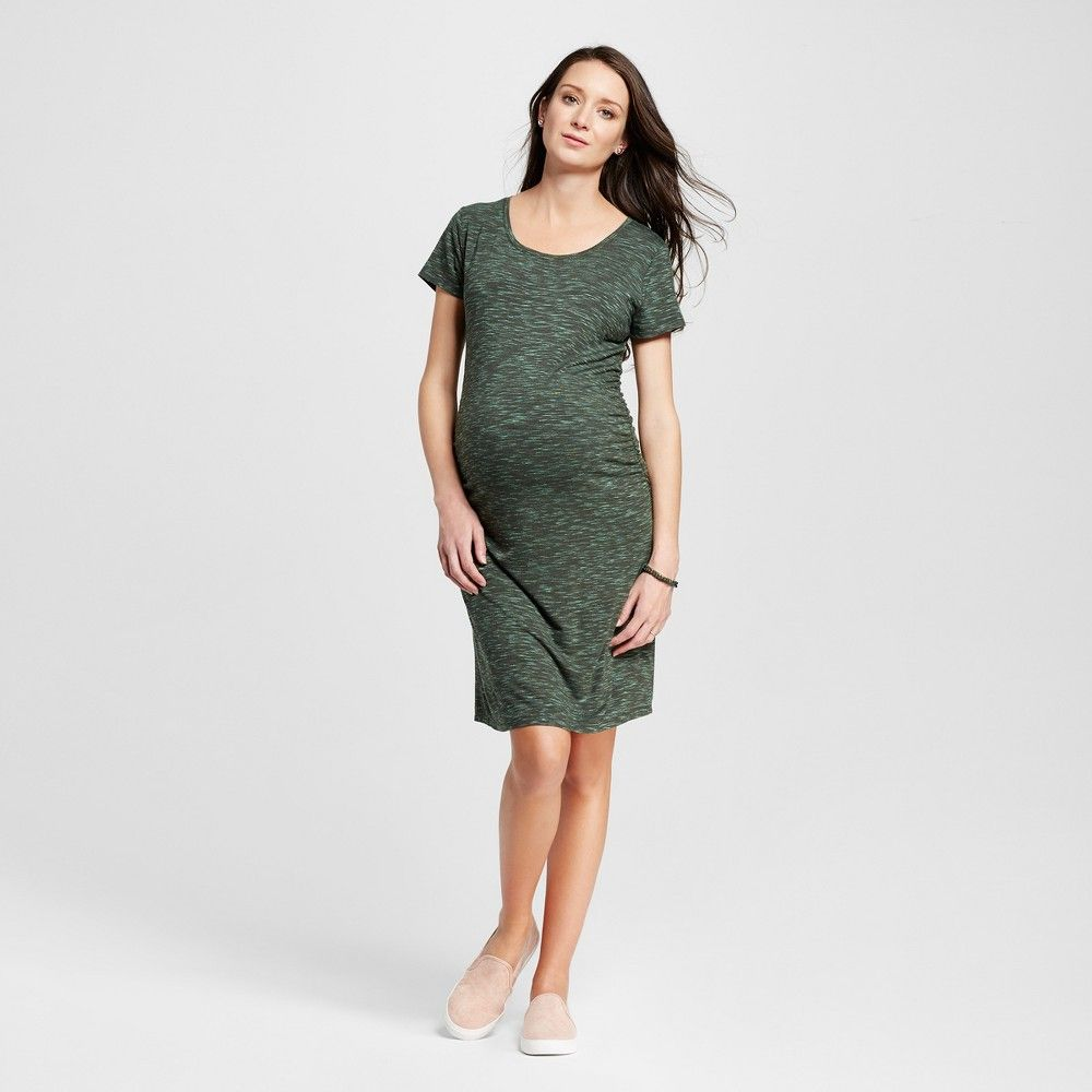 1f89b786454c5 Maternity Heathered Body Con Short Sleeve Tee Dress Olive Heather XL - Liz  Lange for Target