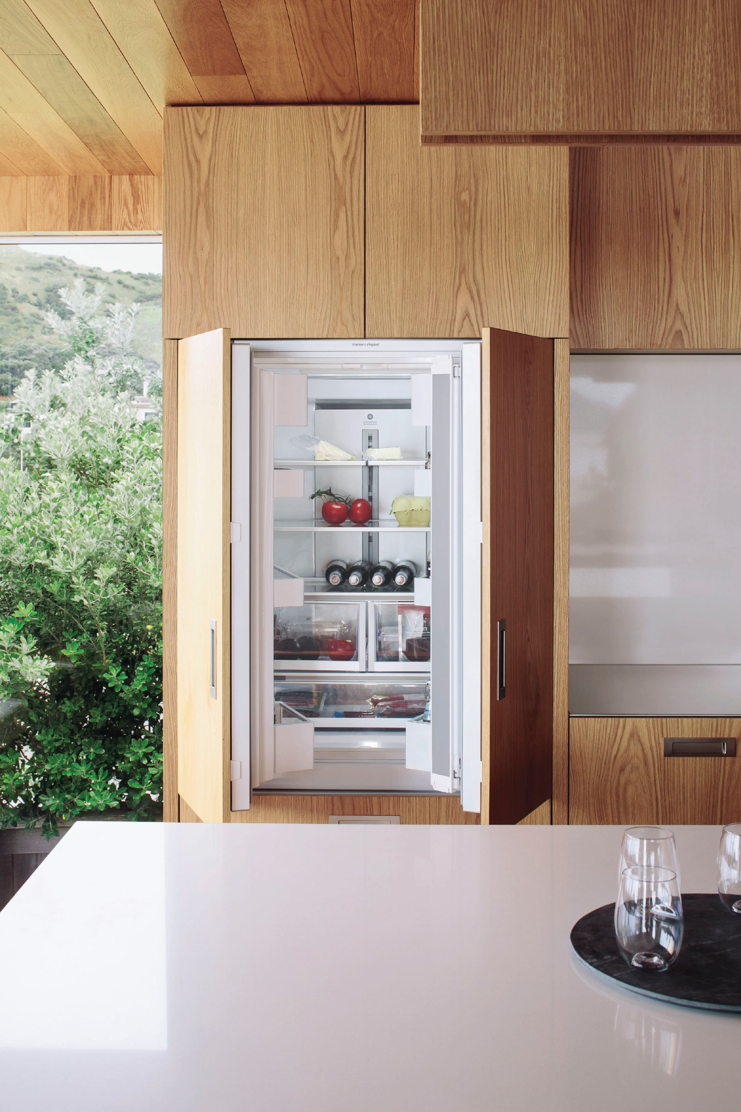 The Distributed Kitchen Optimal Foodcare Kitchen Design French Doors Integrated Fridge