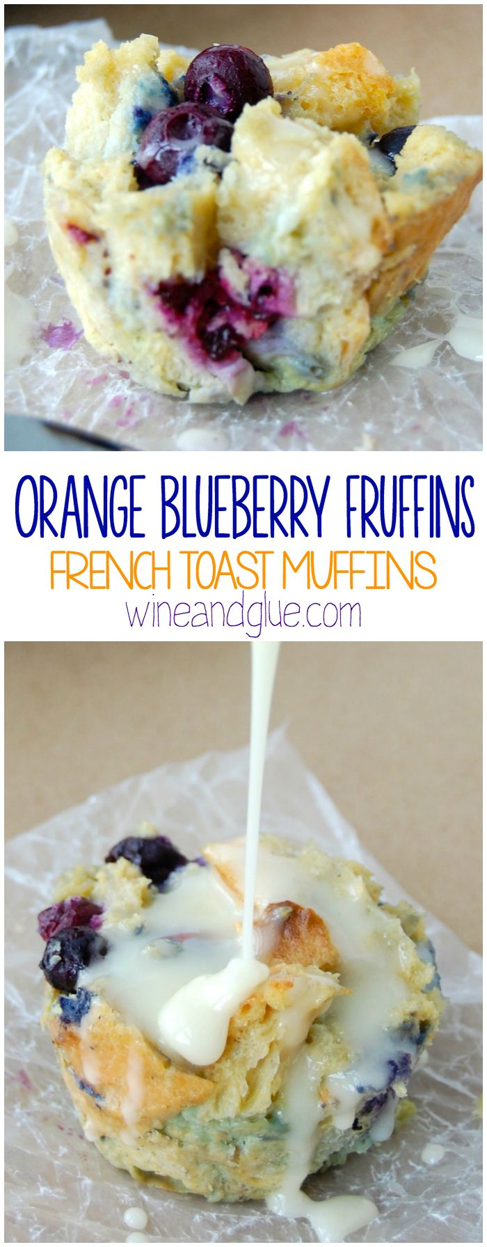 Orange Blueberry Fruffins {French Toast Muffins}   The delicious flavors of orange & blueberry conveniently packaged in a muffin form, but made from french toast!