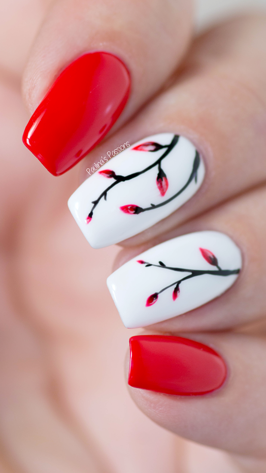 Easy Gel Nail Art Soft Red Floral Nails Tutorial Nail Art For Beginners Red Nail Art Floral Nails