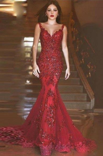 de1686ff809b3b Sexy Burgundy Mermaid V-Neck Sleeveless Floor-Length Appliques Prom Dresses  uk PM283