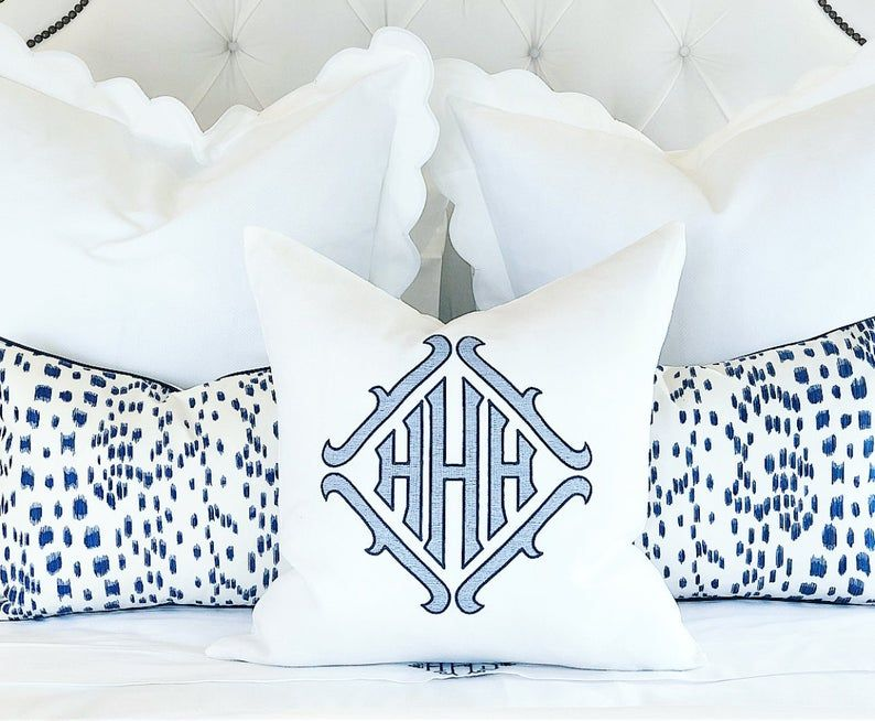 Monogrammed Pillow Sham, 20 Square White Linen