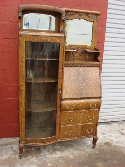 American Antique Victorian Break Front Secretary Bookcase Desk Drop With