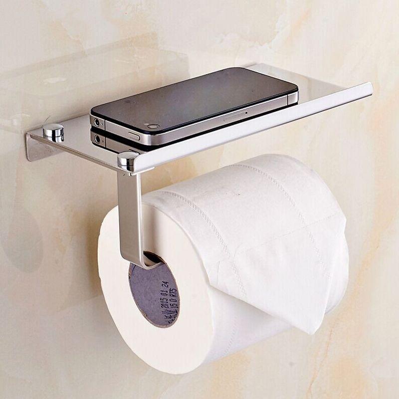 Stainless Steel Roll Towel Tissue Paper Holder Mobile Phone Shelf