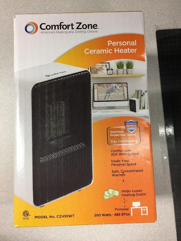 Comfort Zone Cz410wt Small Personal Ceramic Heater Fan