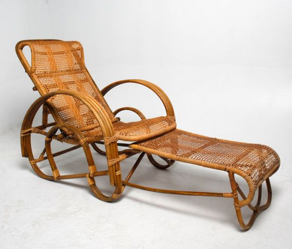 Vintage 1950s Rattan Amp Cane Reclining Lounge Chair Chaise