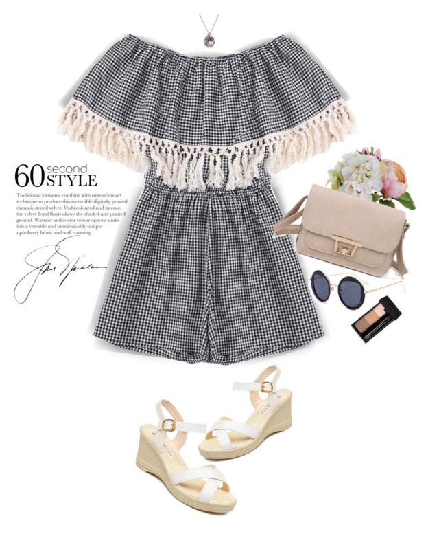 """""""Gimgham Off Shoulder Romper"""" by yexyka ❤ liked on Polyvore"""