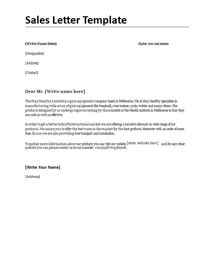 Sales Letter Template How To Make A Professional Sales Letter