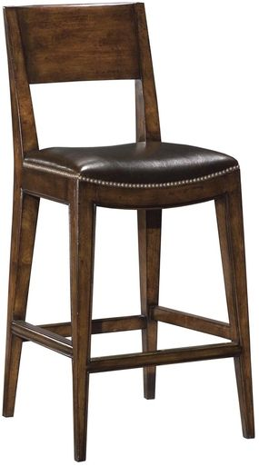 New Saddle Seat Counter Stool Brown Top Grain Leather Nailhead Distressed Wood
