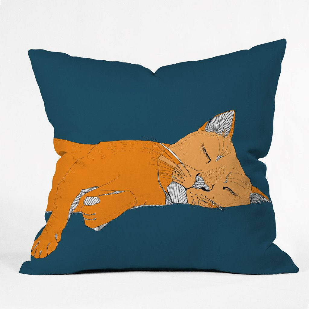 Casey Rogers Sleepy Cat Throw Pillow | DENY Designs Home Accessories