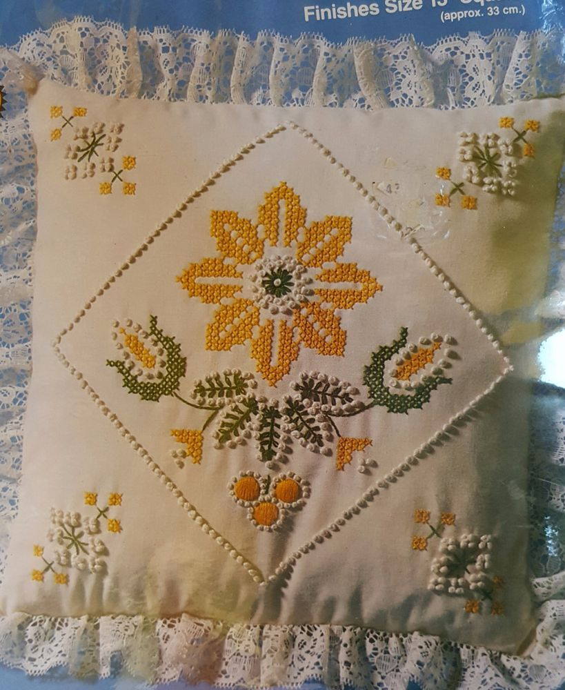 Candlewicking embroidery pillow kit yellow daisies creative