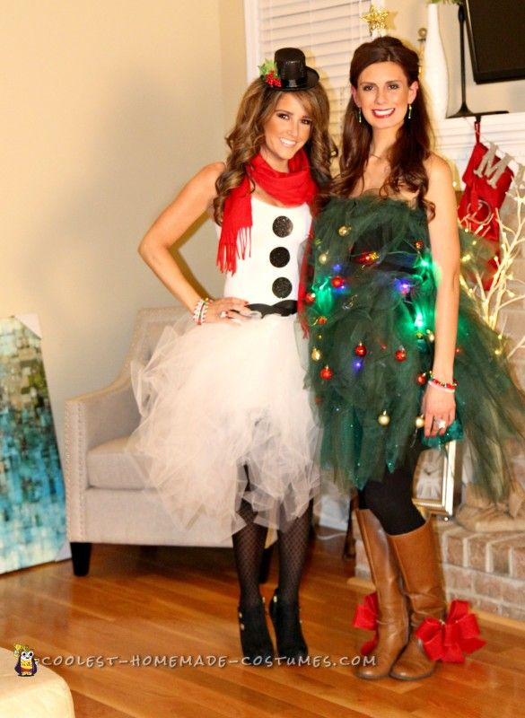 easy tulle snowman and christmas tree couple costume christmas tree costume diy christmas tree sweater - Diy Christmas Costumes