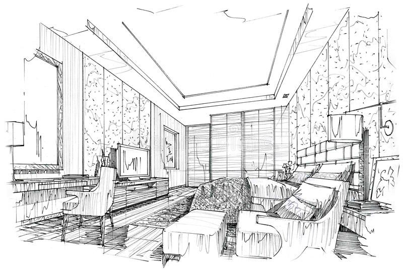 Download Sketch Interior Perspective Bedroom, Black And White ... on ceiling lighting interior design, dark interior design, nordic interior design, black interior designers, all black and white interior design, modern minimalist house design, modern hotel bar and lounge interior design,