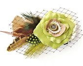 Chartreuse Green Tan feather Bridal hair accessory, Romantic wedding Rose Fascinator Antique Button original unique hair clip
