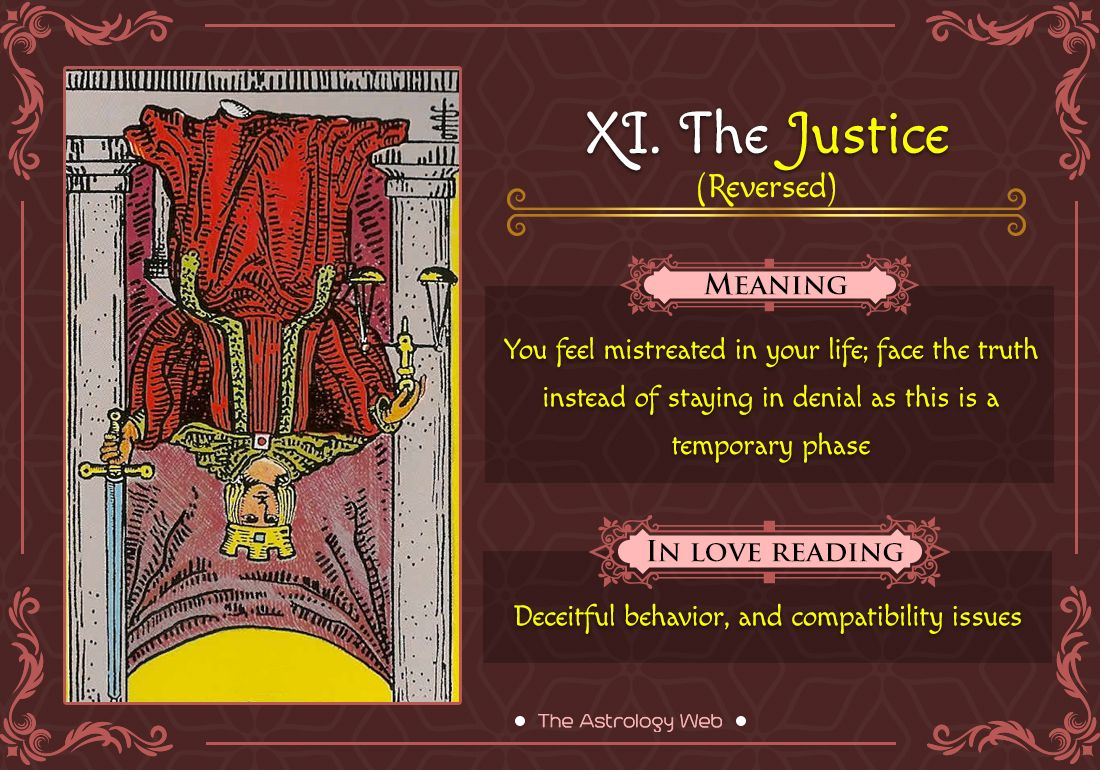 The Justice Tarot Meaning In Upright Reversed Love Other Readings The Astrology Web In 2021 Justice Tarot Tarot Interpretation Tarot Card Meanings