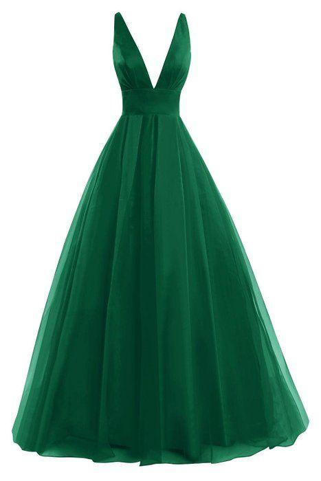 Bess Bridal Women´s Tulle Deep V Neck Prom Dress Formal Evening Gowns Dark Green