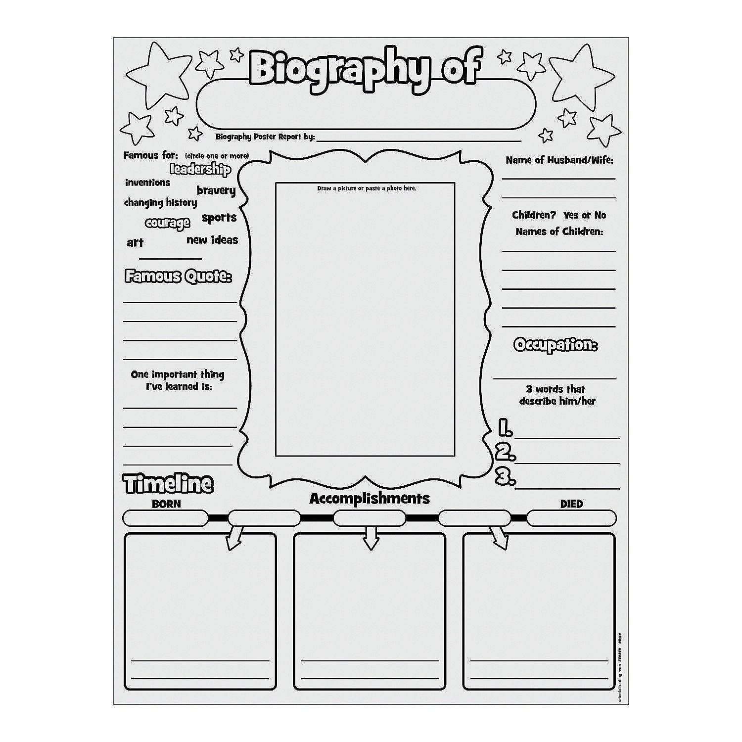 Biography Worksheet Elementary   Printable Worksheets and Activities for  Teachers [ 1500 x 1500 Pixel ]