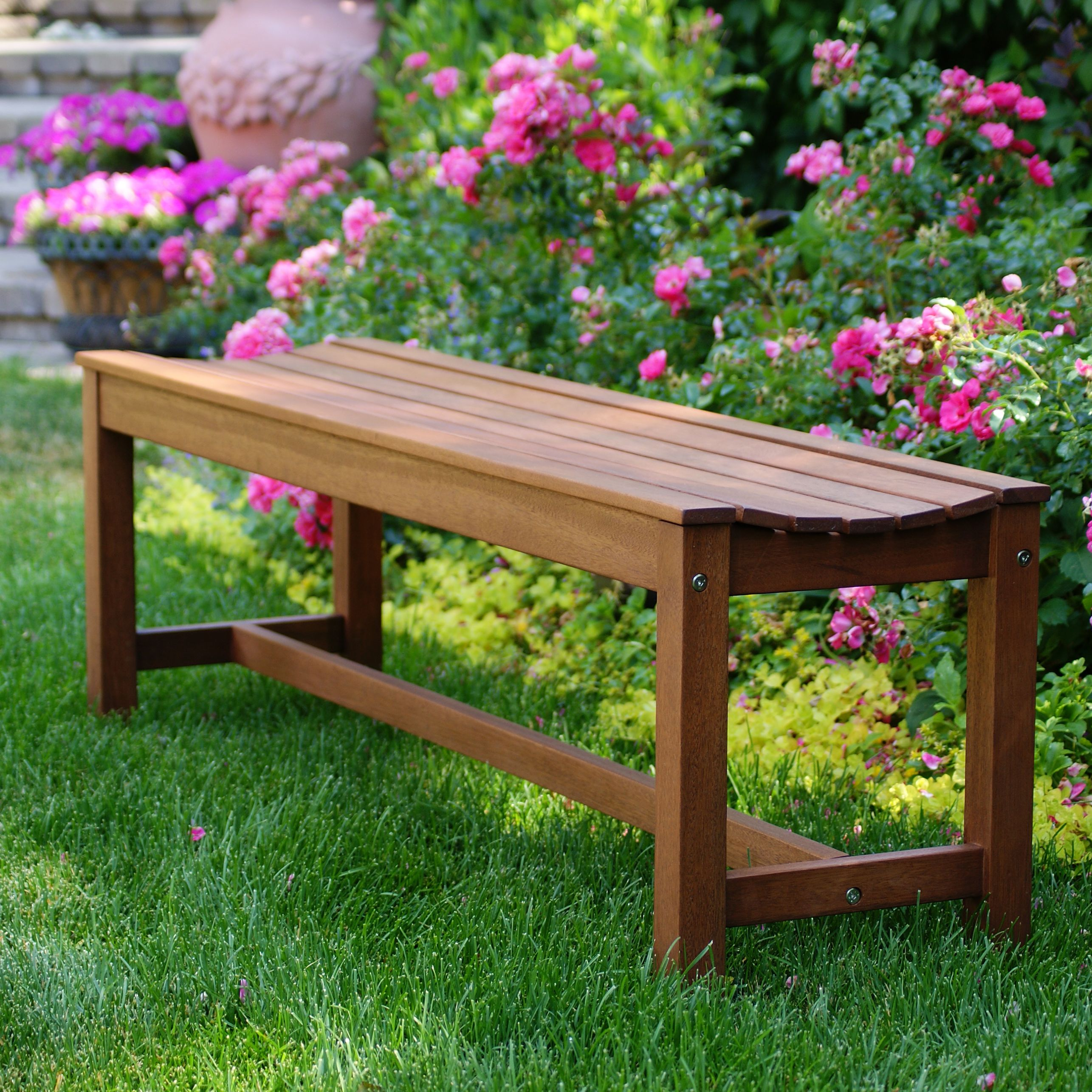 Outdoor Interiors 60404 Outdoor Backless Bench Outdoor Backless BenchCurvy  ComfortFinish That Sustains The Outdoors For Many YearsOil With Linseed Oil