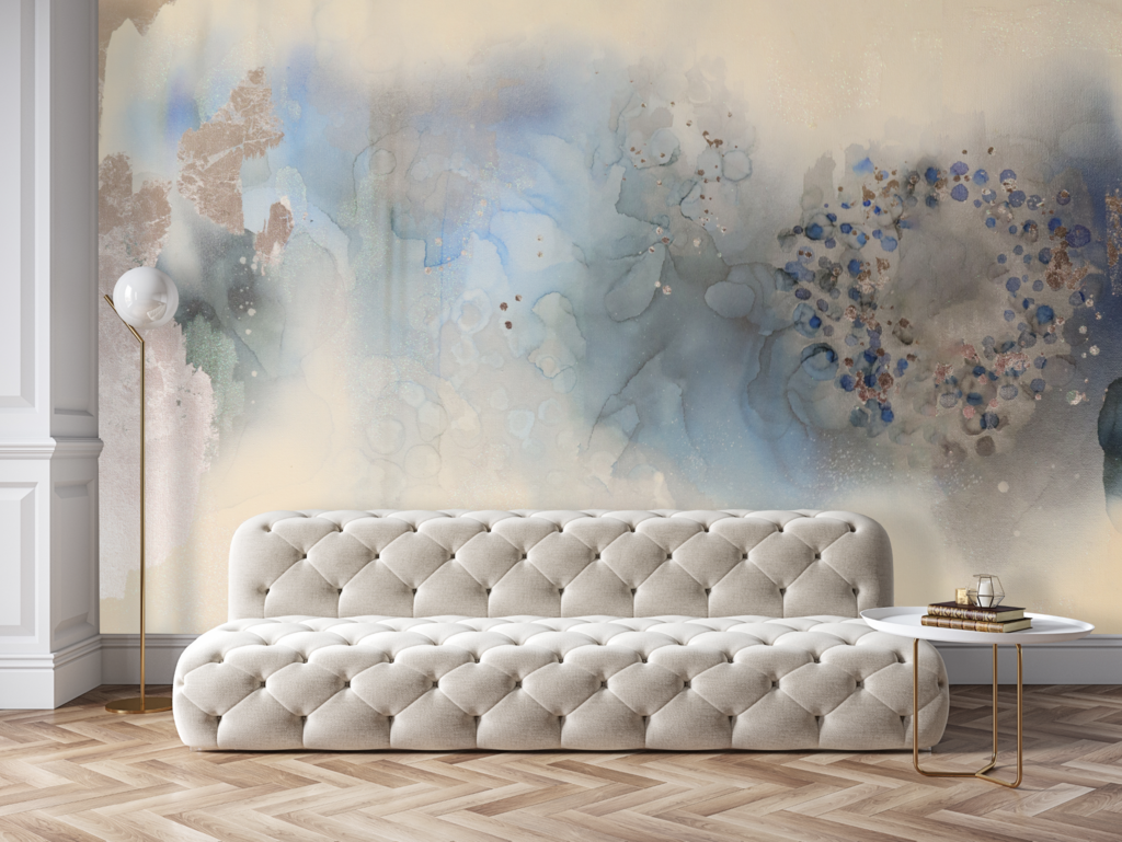 Blue And Silver Removable Wall Mural Blue Abstract Wall Art Peel Stick Wallpaper In 2020 Blue Abstract Wall Art Wall Murals Removable Wall Murals
