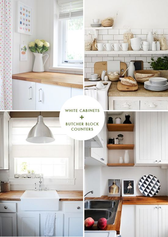 Butcher Block Counters At Home In Love Trendy Farmhouse Kitchen White Shaker Kitchen Cabinets Shaker Kitchen Cabinets