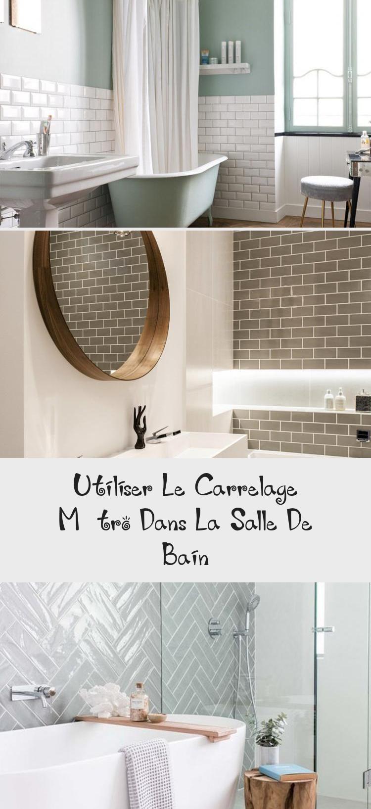 Salle De Bain Deco Carrelage Metro Gris Blanc Et Bois