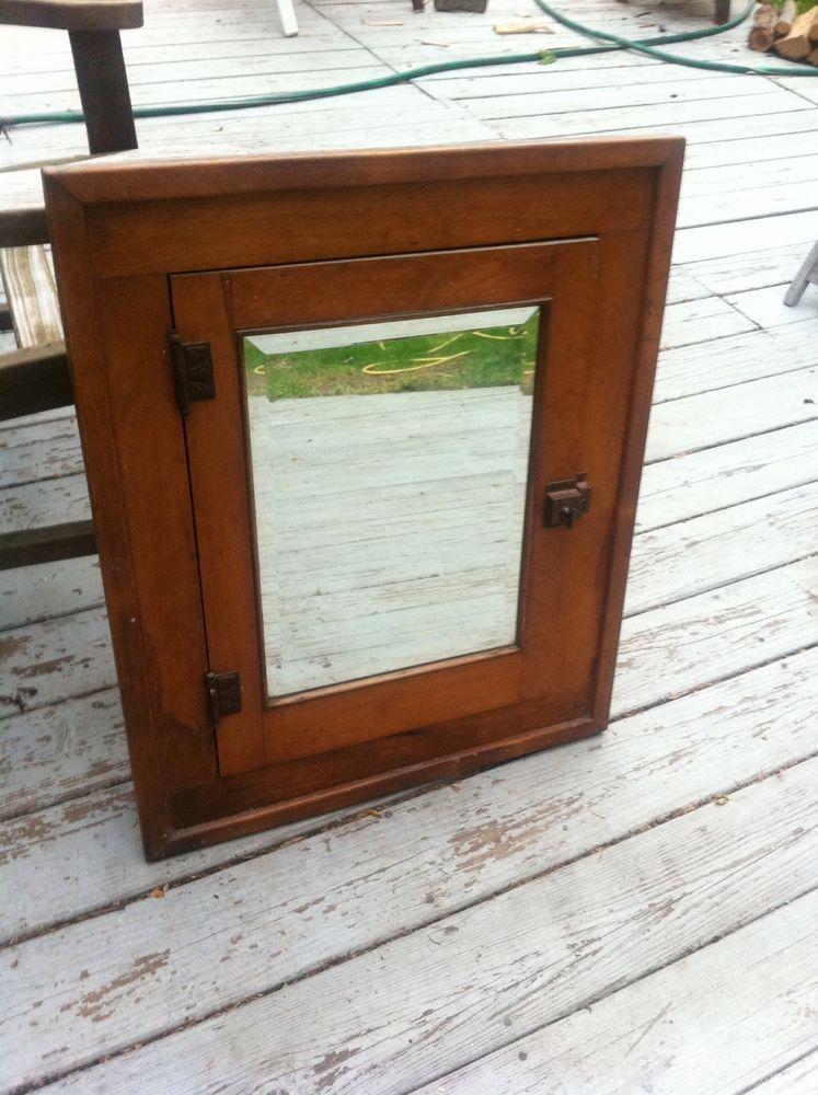 Vintage Wood Bathroom Medicine Cabinet Recessed Storage Beveled Mirror