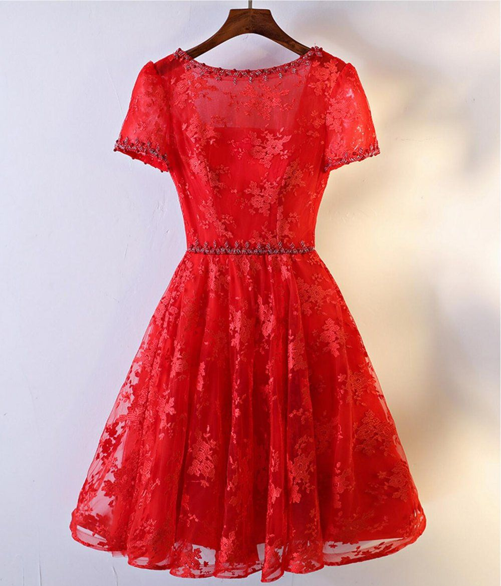 short sleeve red lace round neckline homecoming prom dresses