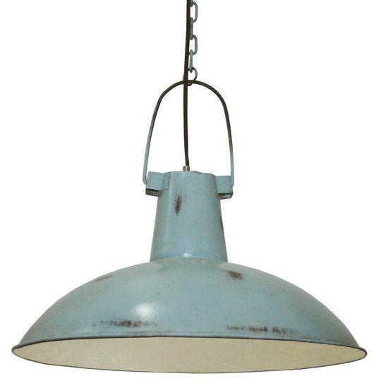 kidsdepot lamp, stoere hanglamp van kidsdepot in blauw metaal, Deco ideeën