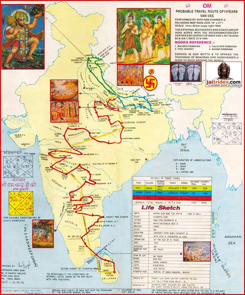 Travel Route Map of 14 Yeras Van Vas performed by Shri Ram