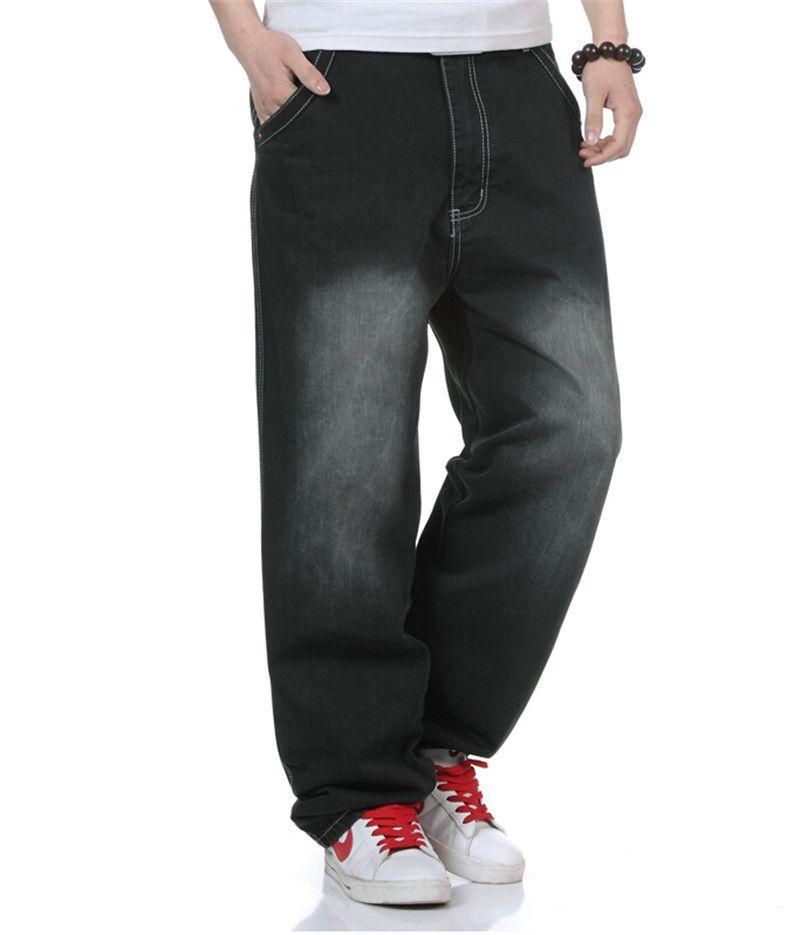 3b25fda7d15 Men Denim Black Jeans Fashion Classic Hip Hop Style Skateboard Pants HipHop  Rap Jeans Mens Baggy Trousers Plus Size 30-46