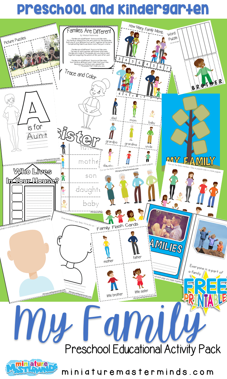 My Family Free Printable Preschool Activity Pack
