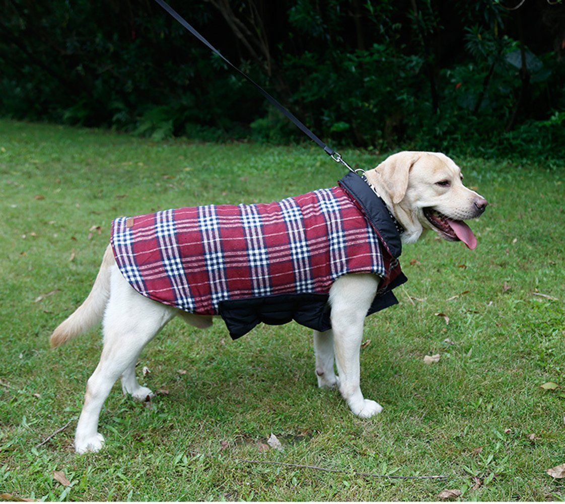 Worderful Dog Winter Coat Pet Reversible Winter Jacket Waterproof Grid Plaid Warm Clothes Small Medium Large Dogs L Red For Dog Coats Dog Jacket Pet Clothes