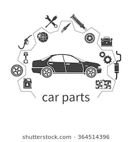 Car parts, set icons auto spare for repairs. Vector