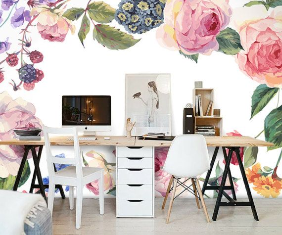 Fresh Watercolor Floral Wallpaper Vintage Roses Wildflowers Wall