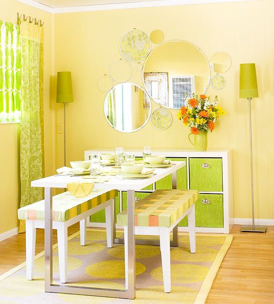 19 Green Color Schemes That Prove This Fresh Hue Goes With Almost Everything Yellow Living Room Home Decor Kitchen Projects Lemon yellow room paint color