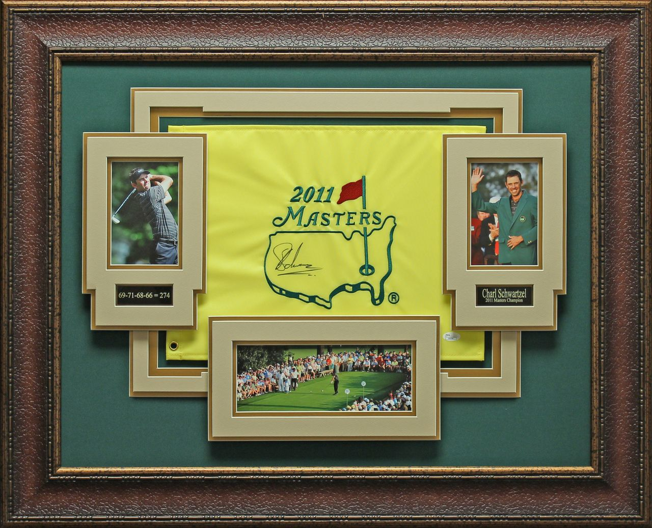 Charl Schwartzel Signed 2011 Masters Pin Flag Display | Masters ...