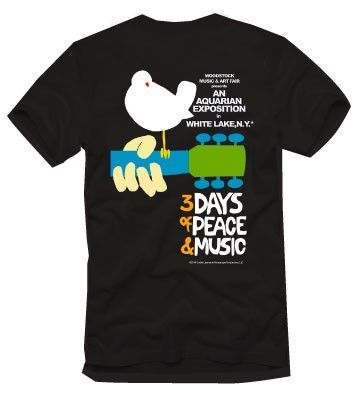 Original Woodstock Poster Tee Shirt Black Woodstock Poster