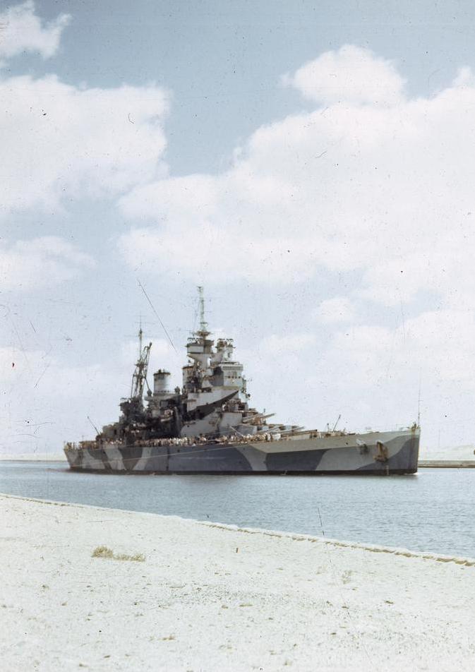 The British Battleship HMS Howe Passing Through the Suez Canal, 14 ...