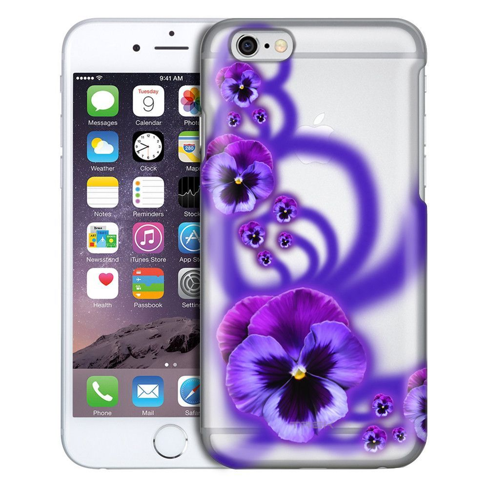 Apple iPhone 6 Plus Painted Purple Pansies Clear Case