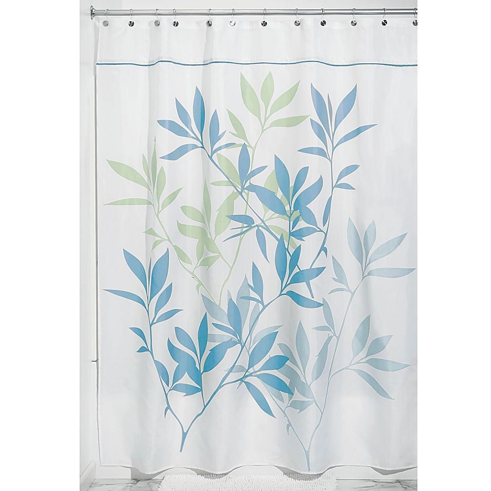 Idesign 54 X 78 Leaves Fabric Shower Curtain In Soft Blue Green